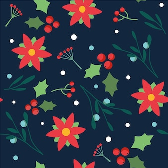 Seamless floral pattern with christmas flowers and berries