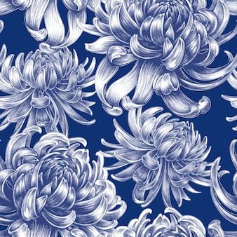 Бесшовный цветочный узор с цветами хризантемы.