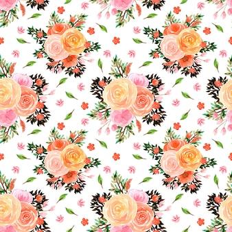 カラフルなバラとのシームレスな花柄