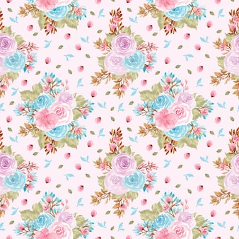 Seamless floral pattern with cute purple and blue flowers