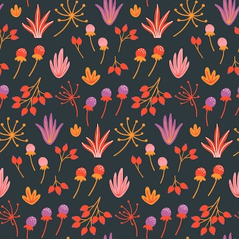 Seamless floral pattern with flowers, leaves and herbs.
