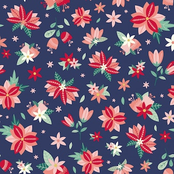 Seamless floral pattern with flowers and leaves