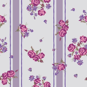 Seamless floral pattern with flowers and stripe.