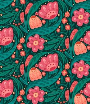 Бесшовный цветочный узор с народным декором. текстура с цветами и листвой с наивным орнаментом.