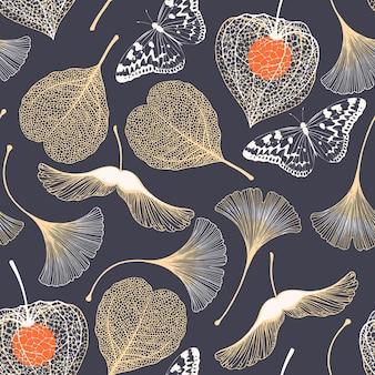 Seamless floral pattern with ginkgo biloba leaves vector elegant background