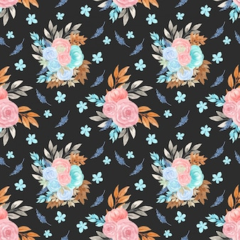 Seamless floral pattern with gorgeous flower bouquet