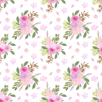 Seamless floral pattern with gorgeous pink flowers