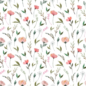 Seamless floral pattern with gorgeous red wild flowers