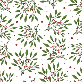 Seamless floral pattern with green leaves and red berries. perfect for textile wallpaper posters.
