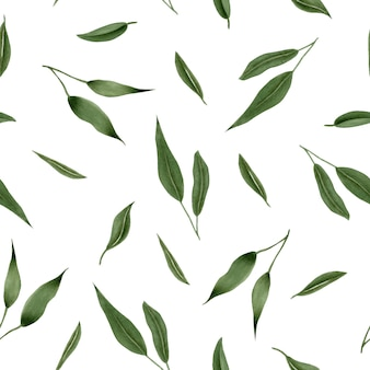Seamless floral pattern with green leaves