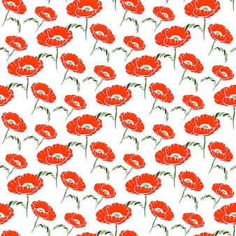 Seamless floral pattern with hand drawn poppy on white background