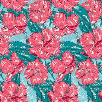 Seamless floral pattern with hibiscus flowers and leaves.