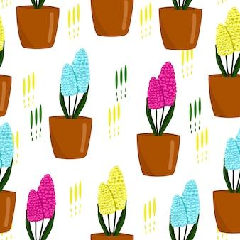 냄비 벡터 일러스트 레이 션에 히아신스 귀여운 봄 인쇄 꽃과 원활한 꽃 패턴