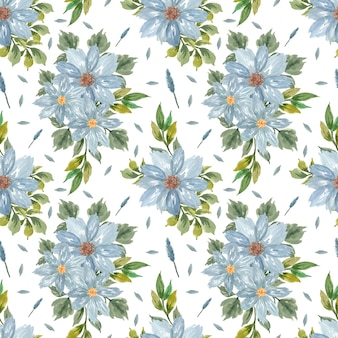 Seamless floral pattern with indigo blue flowers