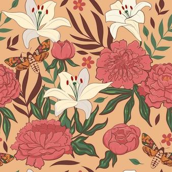백합과 모란과 함께 완벽 한 꽃 패턴입니다. 벡터 그래픽입니다.