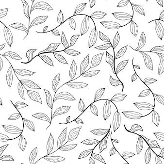 輪郭の花と葉の背景とシームレスな花柄