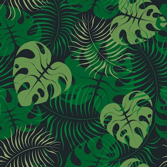 Seamless floral pattern with palm leaves and monstera