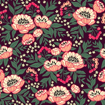 Seamless floral pattern with peonies. bright pink flowers. dark violet background.