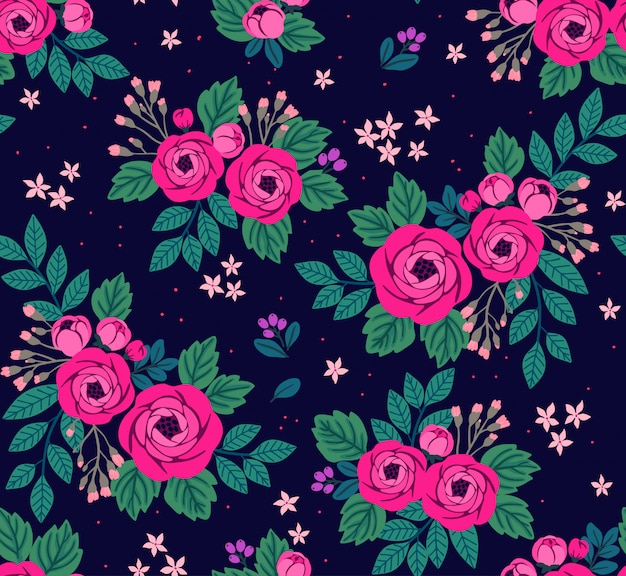 Seamless floral pattern with pink roses. flowers in vintage style.