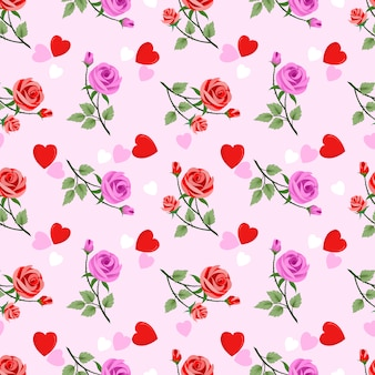 Seamless floral pattern with pink roses and hearts on pink background.