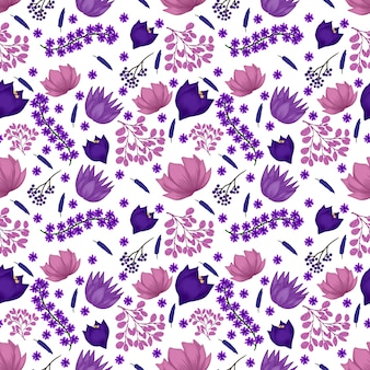 Seamless floral pattern with purple flowers