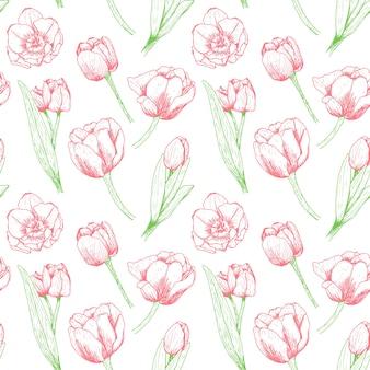 赤いチューリップとのシームレスな花柄。
