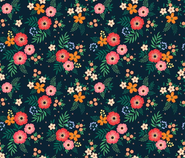 Seamless floral pattern with small colorful flowers.