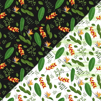 Seamless floral pattern with tropical flowers and foliage