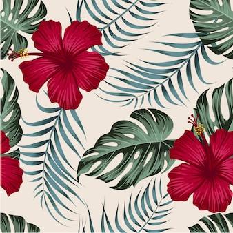 Бесшовный цветочный узор с тропическими листьями, тропический фон