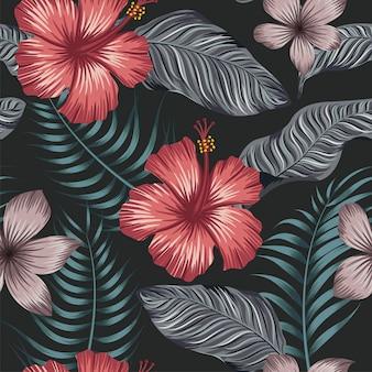Бесшовный цветочный узор с тропическими листьями