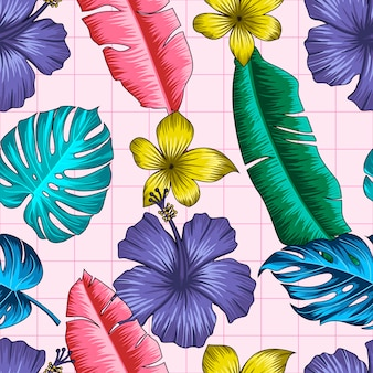 Seamless floral pattern with tropical leaves