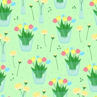 Бесшовный цветочный узор с тюльпанами и розами, цветы в вазах, векторная иллюстрация в плоском стиле