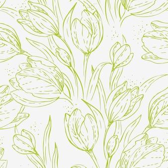 튤립과 원활한 꽃 패턴