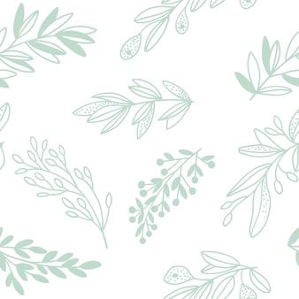 잔가지와 함께 완벽 한 꽃 패턴입니다. 벡터 일러스트 레이 션.