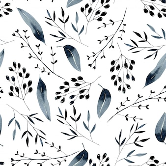 Seamless floral pattern with watercolor blue branches