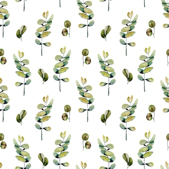 Seamless floral pattern with watercolor eucalyptus branches