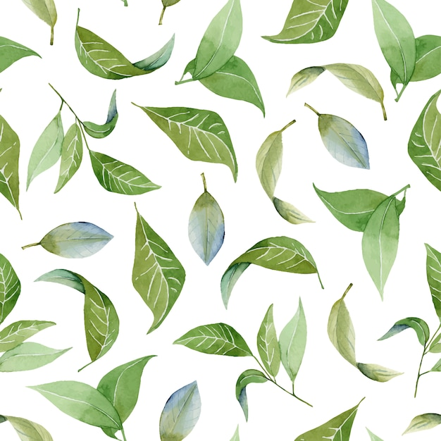 Seamless floral pattern with watercolor green leaves