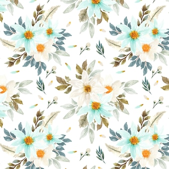 Seamless floral pattern with white and blue daisy