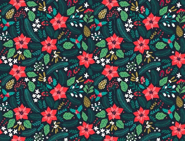 冬の植物とのシームレスな花柄。冬の花の背景。青色の背景にクリスマス花の要素を持つカラフルなパターン。クリスマスと新年のファッションプリントの休日のデザイン。