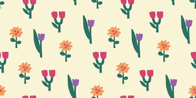미니멀한 스타일의 원활한 꽃 패턴