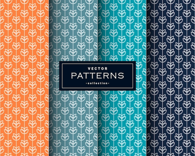 Seamless floral patterns set in four colors