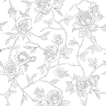シームレスな花のバラの背景のテクスチャ