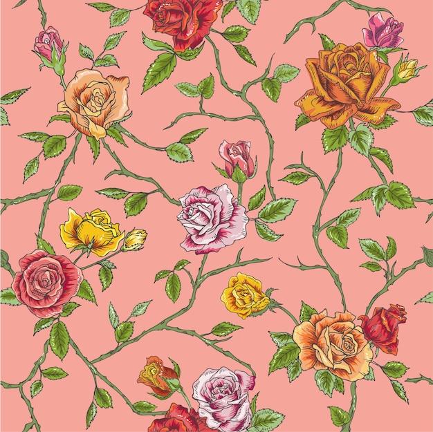 シームレスな花のバラの背景