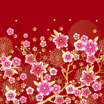 Seamless floral spring border with blooming plum in chinese style