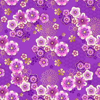 Seamless floral spring pattern with blooming plum in chinese style