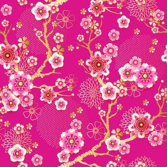 Бесшовный цветочный весенний образец с цветущей сливой в китайском стиле