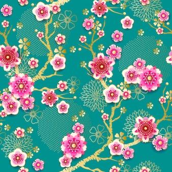 中国風に咲く梅とシームレスな花の春のパターン