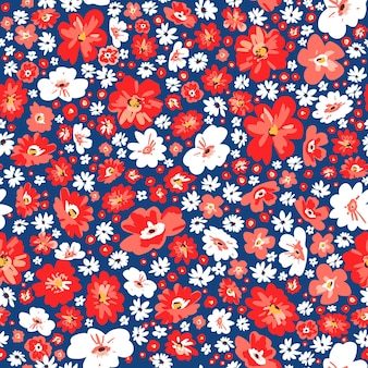 Seamless floral summer background. vector meadow cute flowers