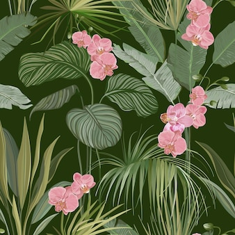 Seamless floral tropical print with exotic flowers and orchid blossoms, nature ornament for textile or wrapping paper. jungle leaves on deep green background, rainforest plants. vector illustration