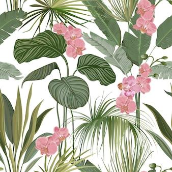 エキゾチックな蘭のピンクの花、白い背景の上の緑のジャングルの葉とのシームレスなフローラルトロピカルプリント。熱帯雨林の花や植物、自然の織物の装飾品または包装紙。ベクトルイラスト